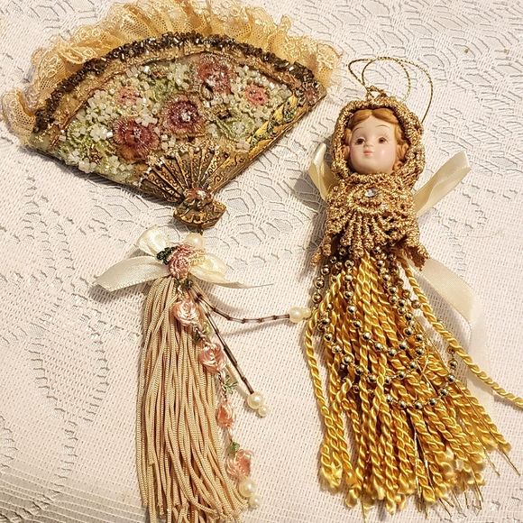 Pair of Vintage Ornaments Fan and Porcelain Doll